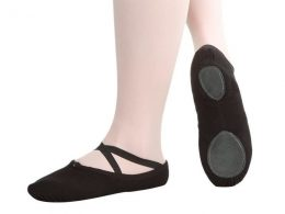 PREMIUM SPLIT SOLE BLACK CANVAS BALLET SHOES