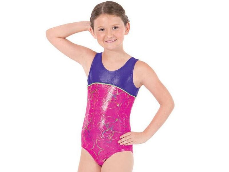 GIRLS TWO-TONE GYMNASTICS TANK LEOTARD