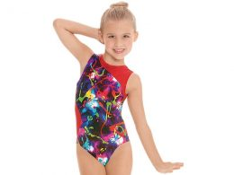 CONTRAST METALLIC GRAFFITI GYMNASTICS LEOTARD